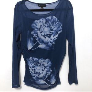 INC sheer long sleeve blouse blue floral
